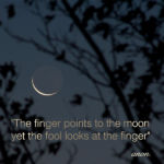 The finger points to the moon...